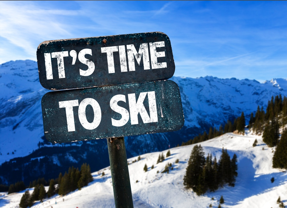 Its Time To Ski sign with sky background-1