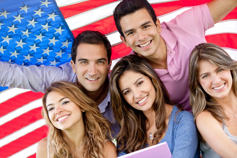 Group of people with the USA flag - American youth concepts-1